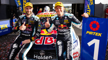 Kings of the mountain: Shane van Ginsbergen (left) and co-driver Garth Tander celebrate after their win at the 2020 Bathurst 1000.