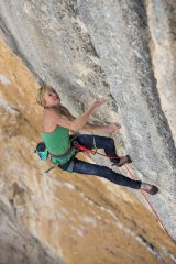 Monique Forestier climbing in Oliana, Spain.
