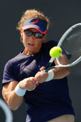 Sam Stosur practices at Melbourne Park in the lead-up to the Open.