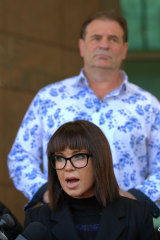 Emma Walters speaking outside court on Wednesday morning.