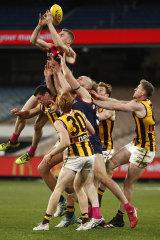 Tom McDonald attempts a big mark.