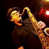 Playing jazz saxophone in 2009.