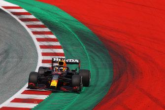Max Verstappen en route to victory.