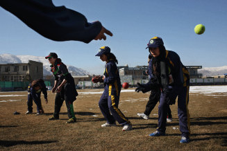 No longer free: the Afghanistan women's cricket team, at a past training session in Kabul.