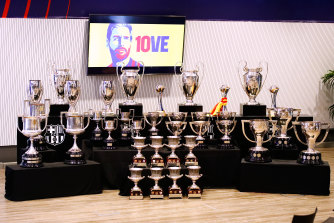 The trophies won by Barcelona during Messi's time at the club were all on display at Sunday's press conference.
