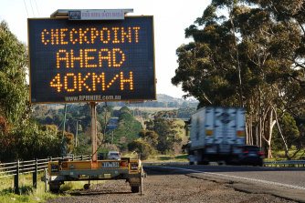 A checkpoint on the Calder Freeway.