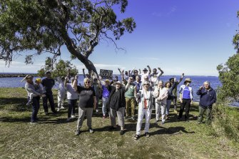 Campaigners celebrate the state government decision not to build a gas terminal at Crib Point.