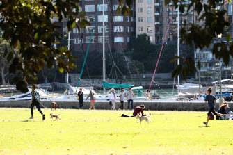 People are out enjoying the sunny weather on Mother's Day at Rushcutters Bay.