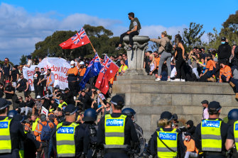 Protesters at the Shrine of Remembrance on Wednesday.
