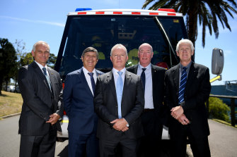 Former emergency services chiefs Bob Conroy, Lee Johnson, Greg Mullins, Mike Brown and Neil Bibby on Thursday.