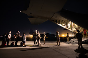 An Australian RAAF C-130J Hercules aircraft landed at Hamid Karzai International Airport to evacuate people to a base in the UAE.