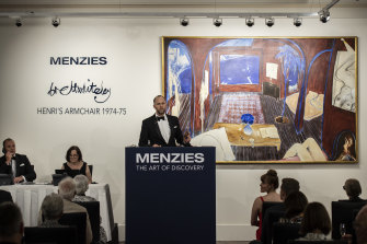 Brett Whiteley's Henri's Armchair  was auctioned by Menzies head of art Justin Turner on Thursday evening.