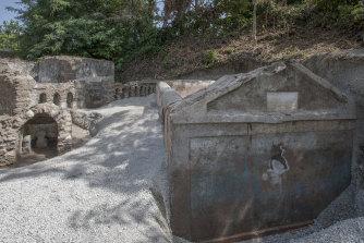 The tomb of Marcus Venerius Secundio, located in the necropolis of Porta Sarno.