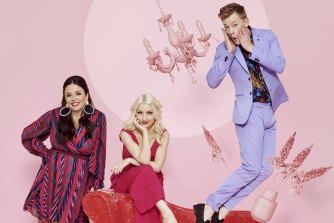 Kate Miller-Heidke, centre, will perform at Eurovision 2020: Big Night In!, hosted by Myf Warhurst and Joel Creasey.