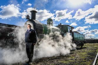 Joe Kellett, chairman of Steamrail Victoria, at the Newport workshops on Saturday.