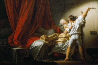 The erotic masterpiece, 'The Bolt', by Jean-Honore Fragonard, c. 1778 , is found in the Louvre.