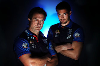 Bulldogs coach Luke Beveridge (left) and captain Easton Wood.