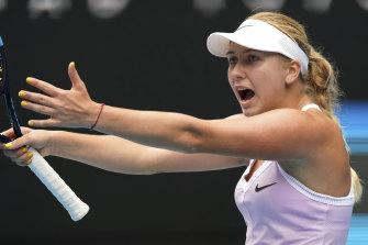 Russia's Anastasia Potapova reacts during a point against Serena Williams.