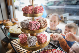 Lamingtons in the window of Phillippa's Bakery in High St, Armadale. There were shock claims that the Lamington was originally known as a Wellington.