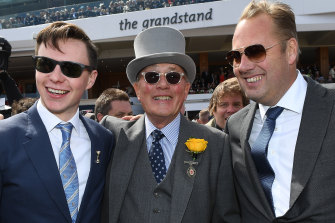 Trainer Joseph O'Brien with owners Lloyd and Nick Williams.