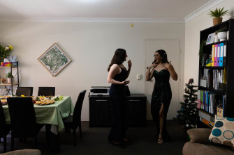 Mercoria Farhoud, from St George Girls High School, prepares for her group's pre-formal drinks.
