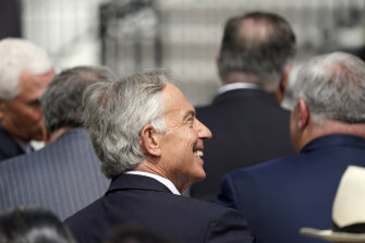 Former British prime minister Tony Blair, on the White House South Lawn for a ceremony for the signing of the Abraham Accords on September 15 in Washington.