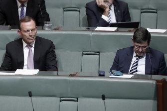 Tony Abbott on the backbench, listening to then prime minister Malcolm Turnbull speak in February 2018.