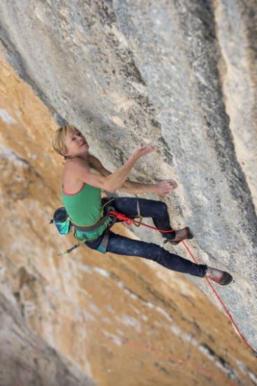 Monique Forestier climbing in Oliana, Spain.