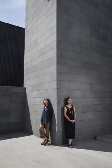 Artist Esther Stewart, left, and executive curator Fleur Watson outside the new Housemuseum Galleries.