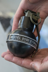 A stinger grenade of the type Victoria Police will now have in their anti-riot equipment.