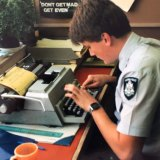 A young Phil Bogle in the typewriter days.