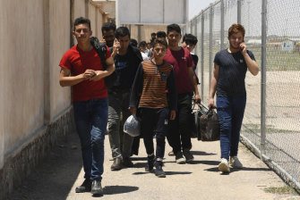 Unaccompanied minors arrive at Zero Point on the Afghanistan-Iran border.