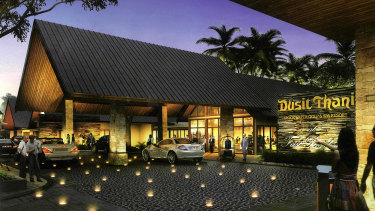 Artist impresions of the Dusit Thani Brookwater Golf and Spa Resort, found in promotional material.