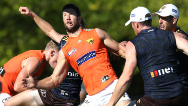 James Frawley looks to regain his touch at Hawthorn training last month.