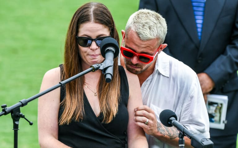 Haley Folkes-Shaw and Daniel Folkes honour their father.