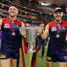 Steven May celebrates with Michael Hibberd.