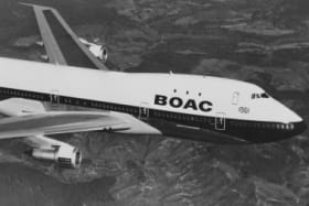 A Boeing 747  long-range wide-body four engined commercial jet airliner for the BOAC - British Overseas Airways Corporation flying above the United Kingdom on 7 April 1971.  (Photo by Fox Photos/Hulton Archive/Getty Images). British Airways retro 1960s plane to mark airline's 100th anniversary.