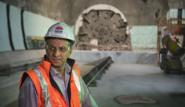 Transport Minister Andrew Constance at a Metro station site beneath Sydney's CBD.