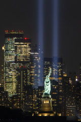 Twin towers of light rise above lower Manhattan on Wednesday to commemorate the victims of 9/11.