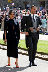 David and Victoria Beckham arrive at St George's Chapel at Windsor Castle for the wedding of Meghan Markle and Prince Harry