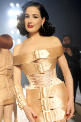 Burlesque star Dita Von Teese after walking the runway at the Jean-Paul Gaultier 50th Birthday show in Paris.