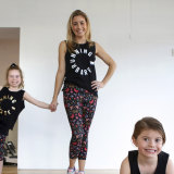 Sydney Pilates guru Kirsten King with daughters Charlie (left) aged 7 and Willow aged 5.
