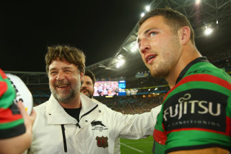 Happier times: Russell Crowe and Sam Burgess after the 2014 NRL grand final at ANZ Stadium.