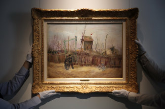 Street scene in Montmartre, an 1887 painting by Dutch master Vincent van Gogh, at Sotheby's auction house in Paris.