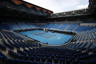 Margaret Court Arena was a crowd-free zone during last year's Open, including this match between Yulia Putintseva and Elina Svitolina, who has expressed concerns about vaccines.
