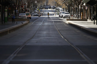 A near-deserted Bourke Street in Melbourne during the lockdown.