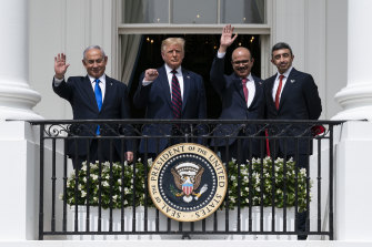 The signing of the Abraham Accords: Israeli Prime Minister Benjamin Netanyahu, left, President Donald Trump, Bahrain Foreign Minister Khalid bin Ahmed Al Khalifa and United Arab Emirates Foreign Minister Abdullah bin Zayed al-Nahyan at the White House in September.