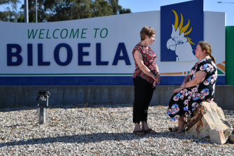Biloela residents Anne Smith (left) and Mary Austin (right) are supporters of the family.