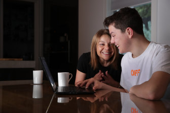 Marcellin College student Max Poletti and his mum Lia after checking his VCE results.