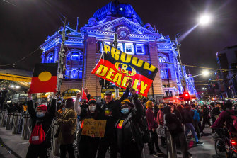 The Black Lives Matter protest in Melbourne on Saturday.